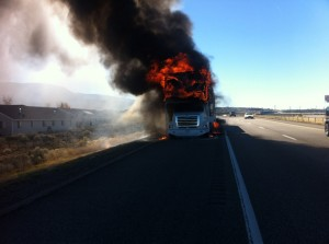 Car caught on fire on auto transporter while traveling on north on Interstate 15.