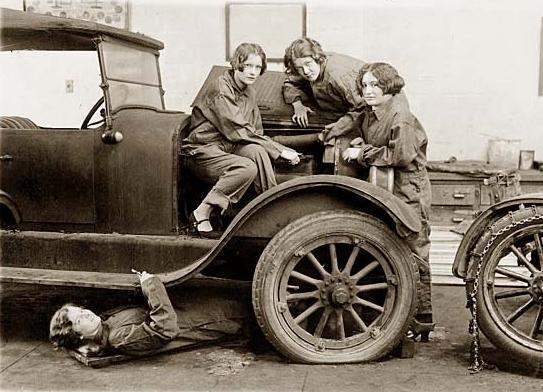 Long time ago it was unheard for women to be auto mechanics.