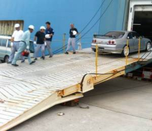 Roll on Roll off vehicle transport to a US port.